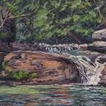 Falls, Kaaterskill Clove, oil-linen, 15x30, 2015