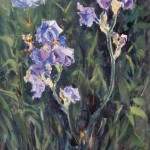 SOLD: Iris and Poeny, oil-linen, 30x15, 2015