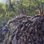 Santa Cruz Falls, Kaaterskill  Clove, oil-linen 28x22, 2015