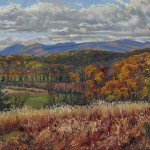 The Catskills from Athens, oil-linen, 18x24, 2014